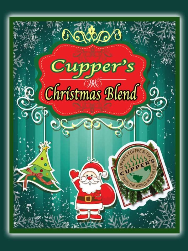 christmas blend medium roast coffee beans label