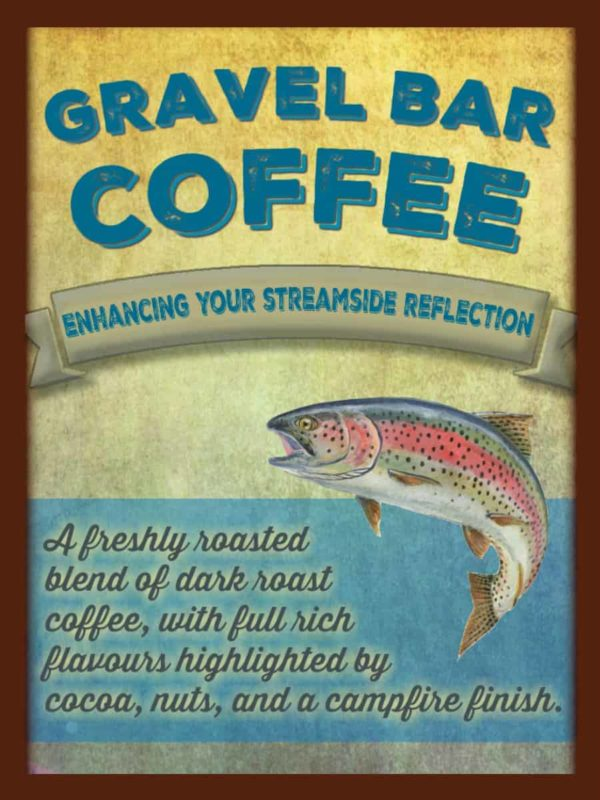 gravel bar camping coffee beans label