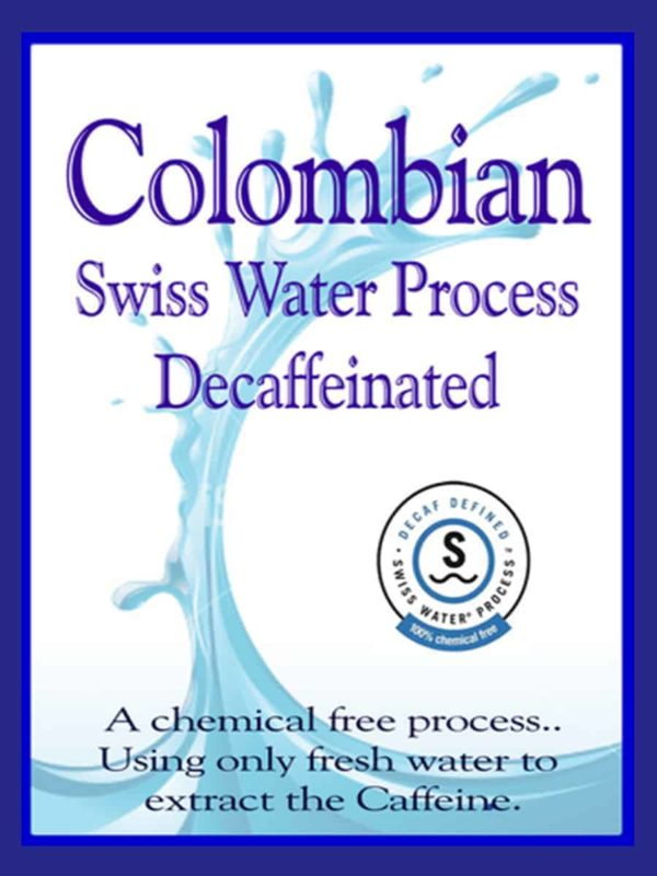 decaf colombian swiss water coffee label