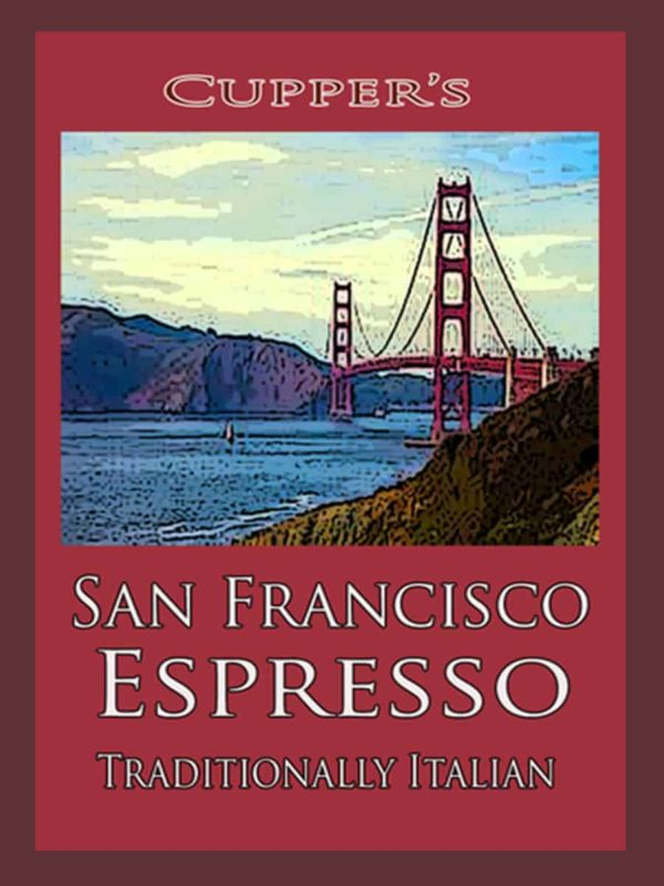 san francisco espresso roasted coffee beans label