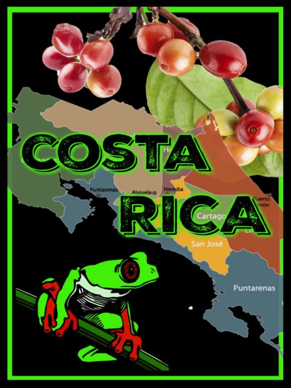 costa rica coffee beans label