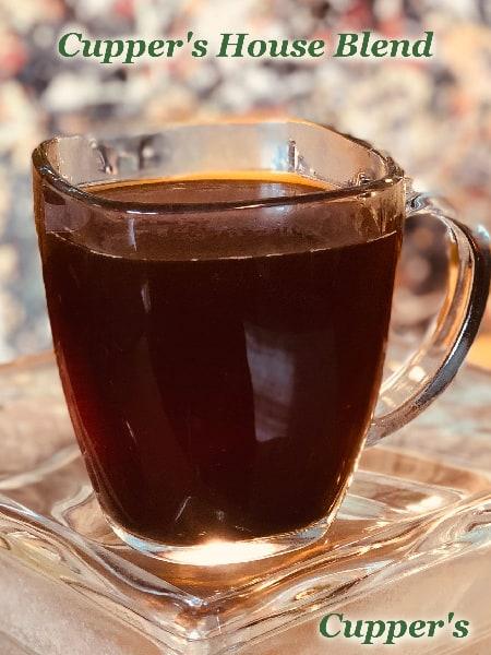 cuppers medium dark blend coffee brewed