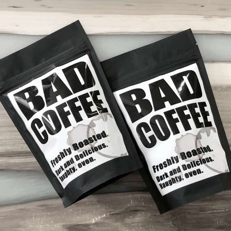 Bags of freshly roasted Cupper's BAD Coffee. Dark and delicious.