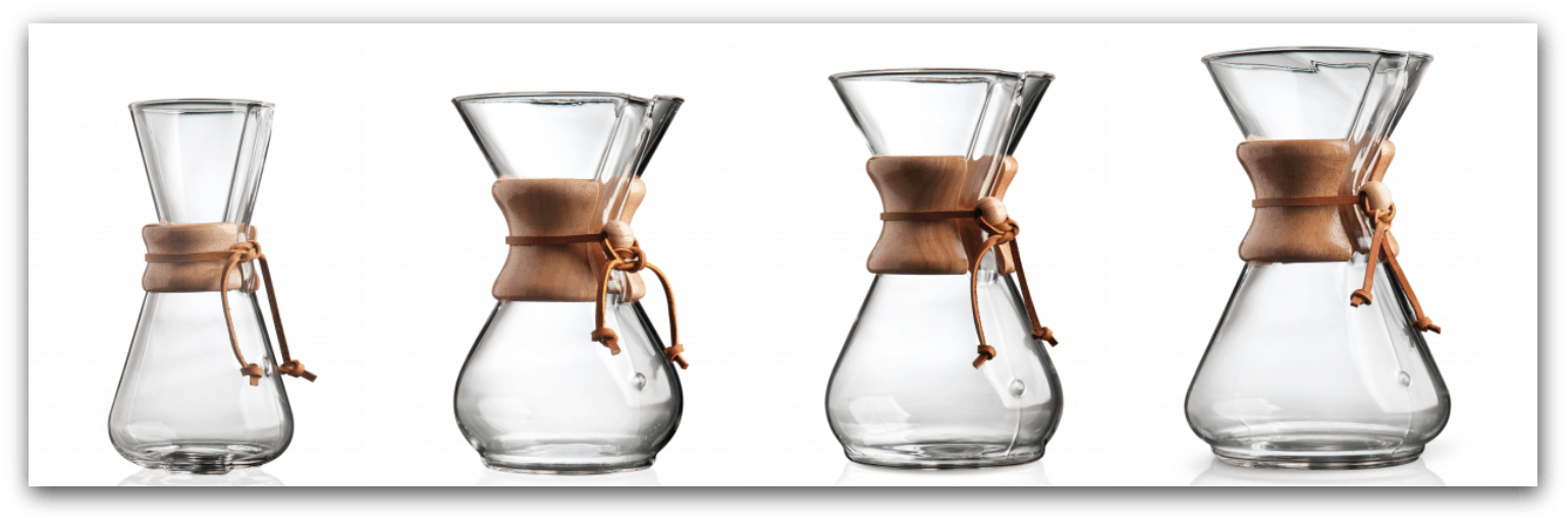 The different sizes and varieties of Chemex Pour Overs