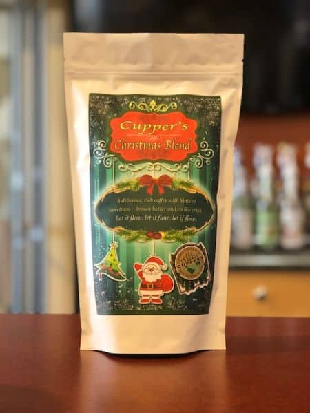 christmas blend medium roast coffee beans bag