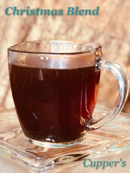 christmas blend medium roast coffee beans brewed