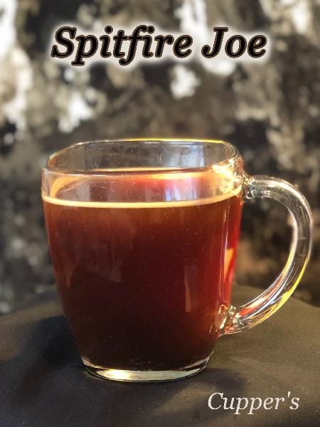 spitfire joe dark blend coffee beans brewed