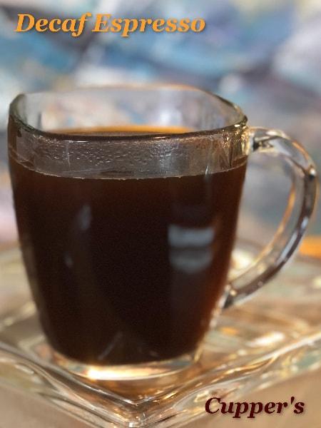 decaf espresso dark roast coffee brewed