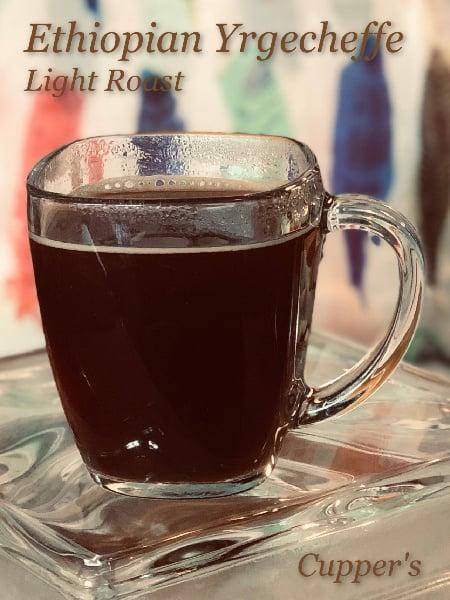 light roast arabica coffee beans brewed