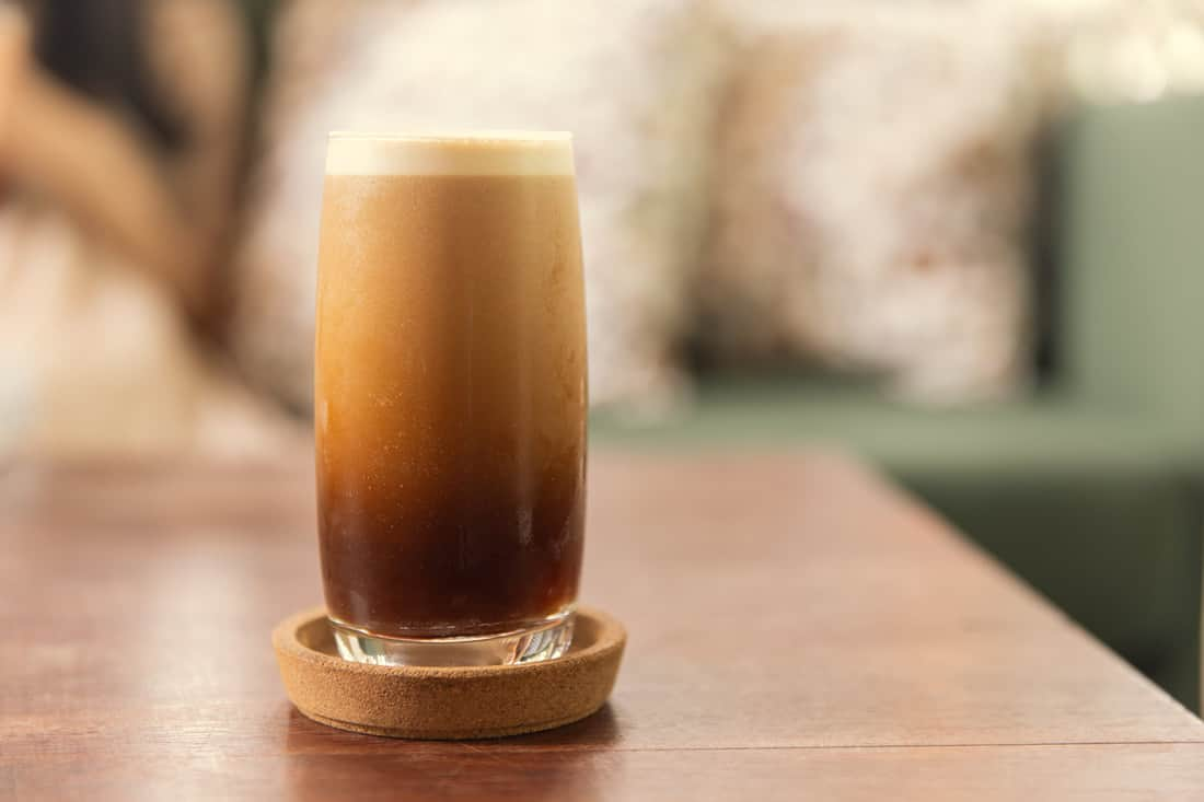Picture of Cuppers freshly roasted cold brew nitro coffee just after pouring.
