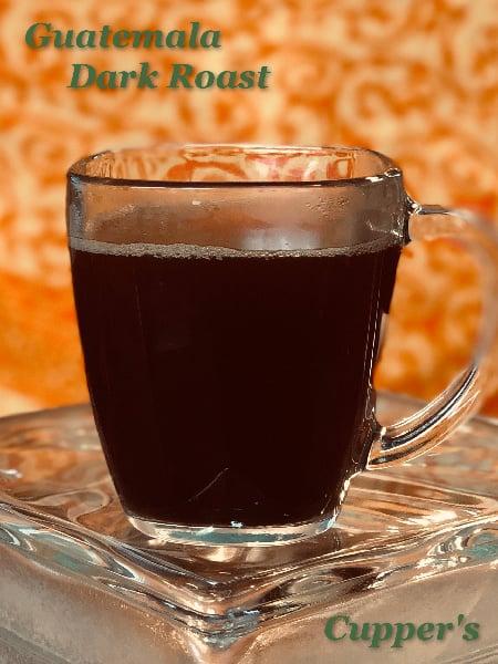 organic dark roast arabica coffee brewed