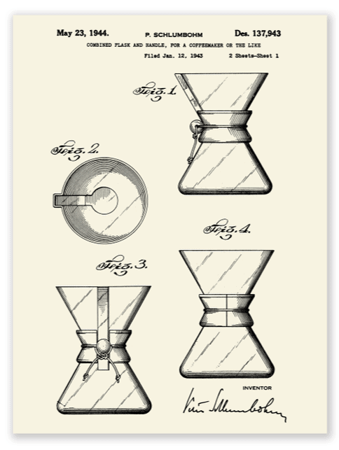 The original patent for the Chemex Pour Over