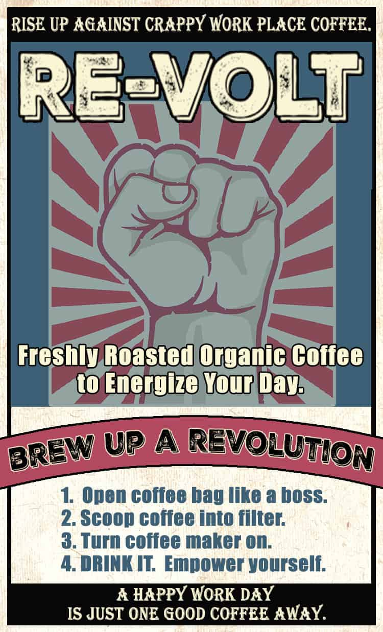 The logo for Cupper's Re-Volt blend: brew up a revolution.