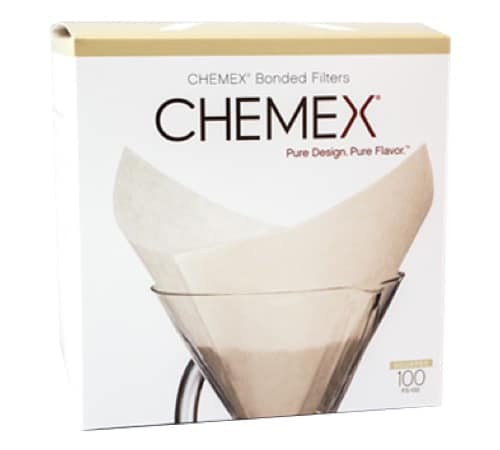 Chemex cone coffee filters white bleached on pour-over