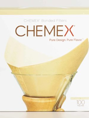 chemex unbleached cone filters box natural brown on pour-over