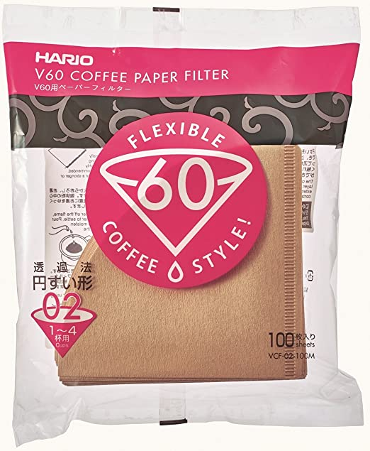 Hario V60 Unbleached Cone Coffee Filters 100 per pack