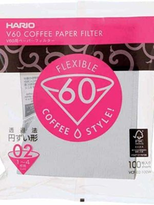 Hario V60 White Cone Coffee Filters 100 per pack