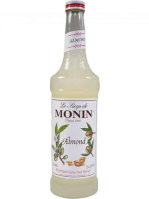 monin almond syrup in glass bottle