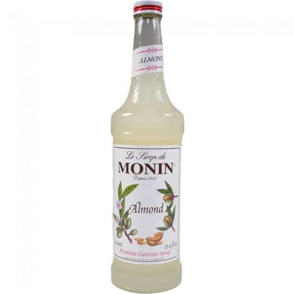 monin almond syrup in glass bottle