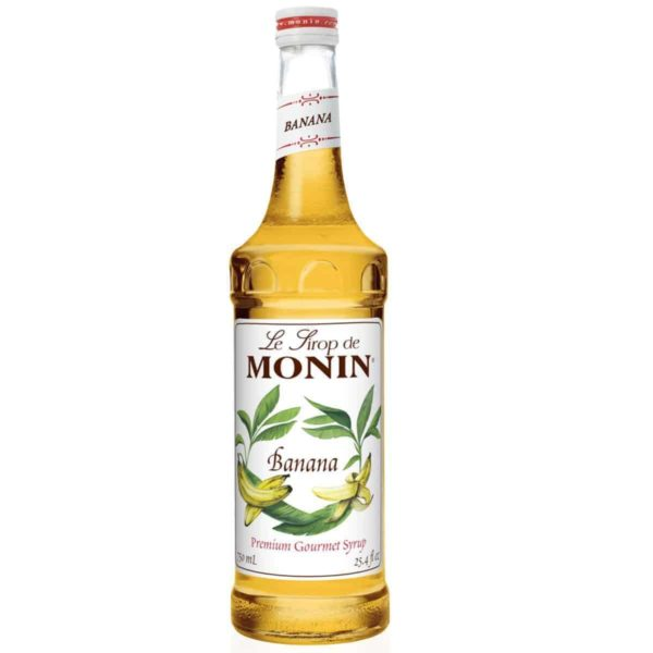 Monin Banana syrup in glass bottle