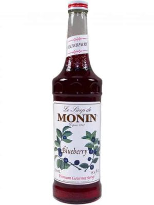 Monin blueberry syrup in glass bottle