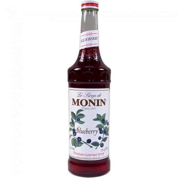 Monin blueberry syrup in glass bottle