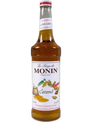 Monin caramel syrup in glass bottle