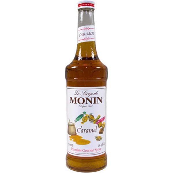 Monin caramel syrup in glass bottle