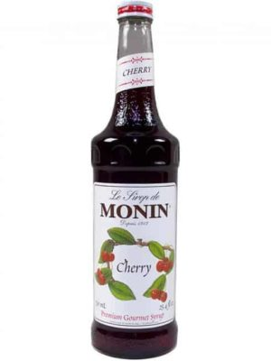 Monin cherry syrup in glass bottle