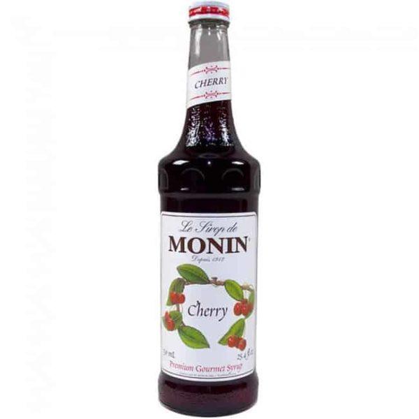 Monin cherry syrup in glass bottle