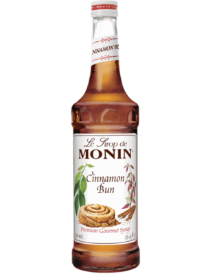 Monin cinnamon bun syrup in glass bottle