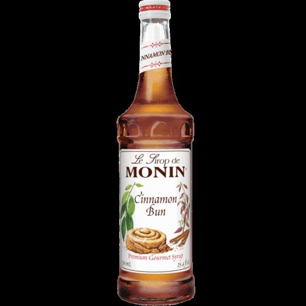 Monin cinnamon bun syrup in glass bottle