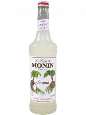 monin coconut syrup in glass bottle