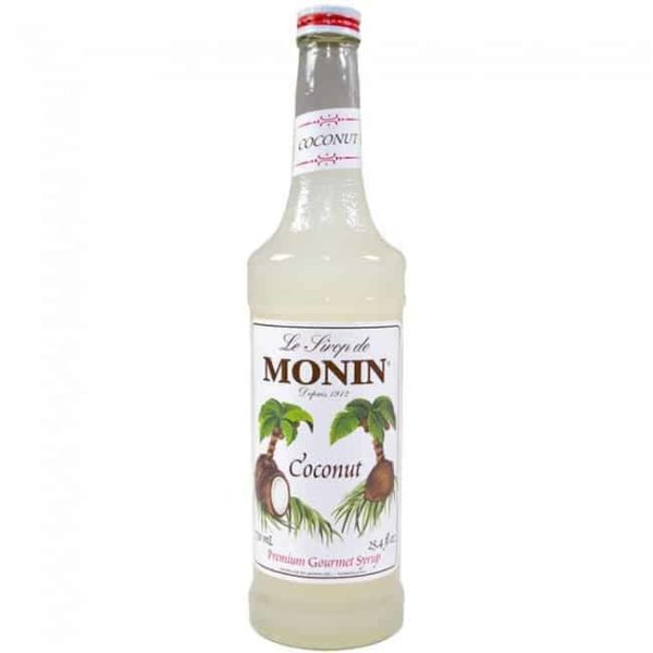 monin coconut syrup in glass bottle