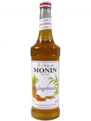 monin gingerbread syrup in glass bottle