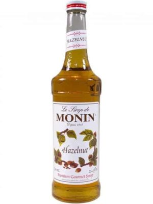 monin hazelnut syrup in glass bottle