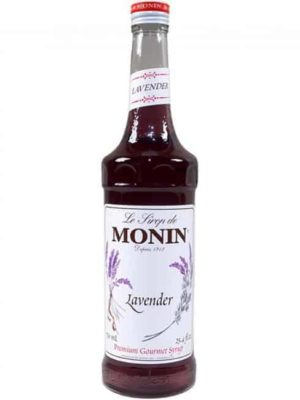 Monin lavender syrup in glass bottle
