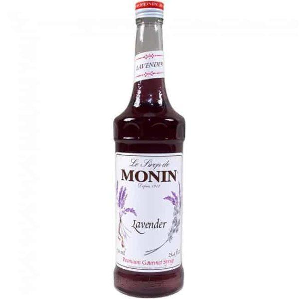Monin lavender syrup in glass bottle