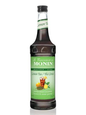 Monin Lemon Iced Tea Syrup in glass bottle