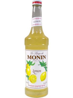 monin lemon syrup in glass bottle