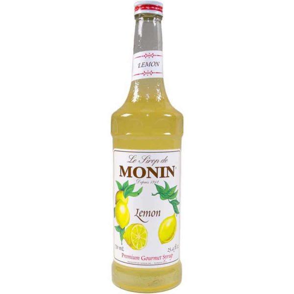 monin lemon syrup in glass bottle