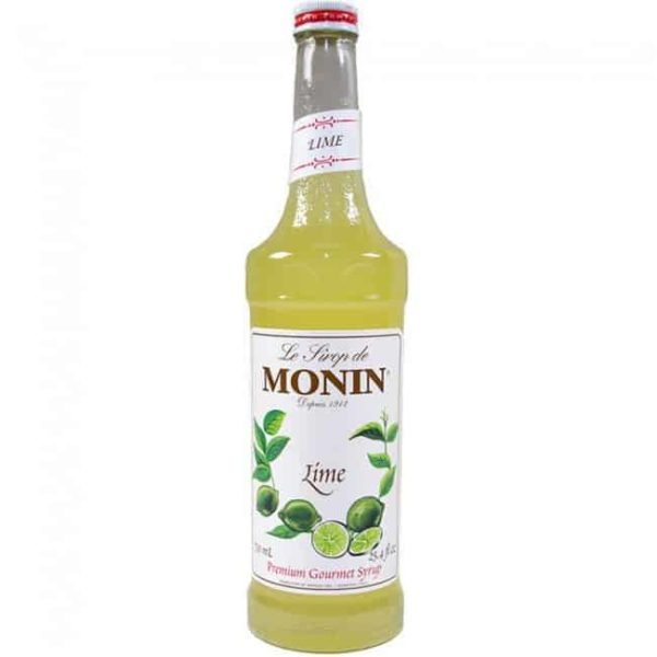 monin lime syrup in glass bottle
