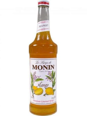 Monin Mango syrup in glass bottle