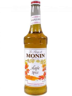 monin maple spice syrup in glass bottle
