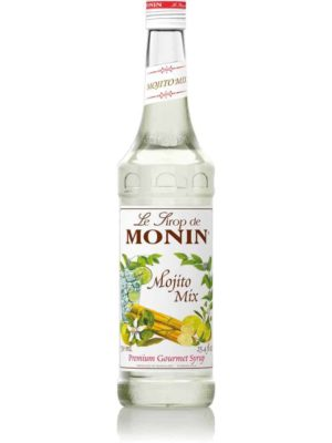 monin mojito mix syrup in glass bottle