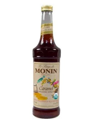 Monin Organic Caramel Syrup in glass bottle