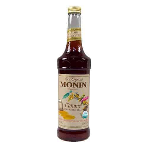Monin Organic Caramel Syrup in glass bottle
