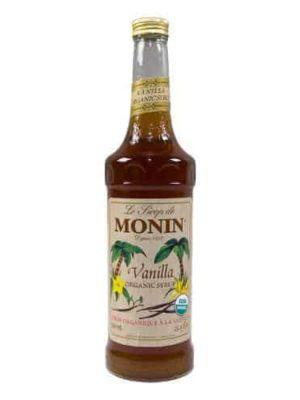 Monin Organic Vanilla Syrup in glass bottle