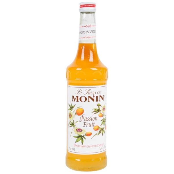 monin passion fruit syrup in glass bottle