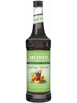 Monin Peach Tea Concentrate in glass bottle